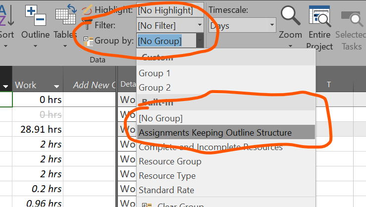 Figure 2: Apply the Assignments Keeping Outline Structure group
